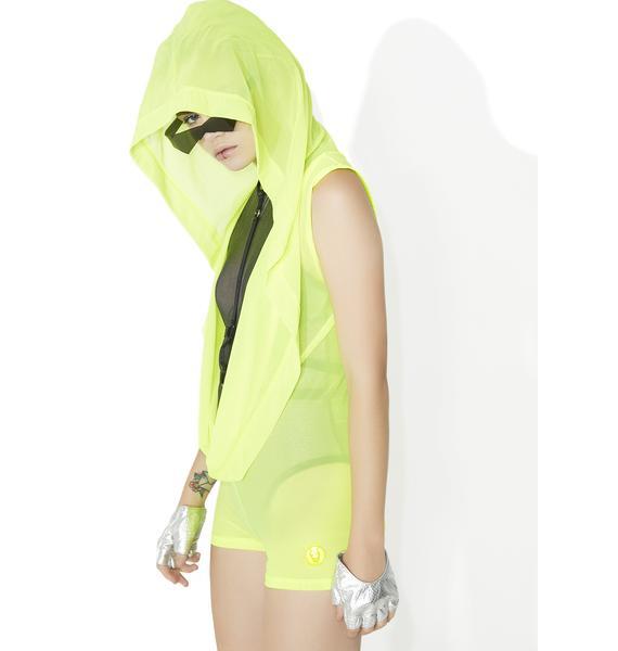 Cyberdog Mesh Drape Playsuit