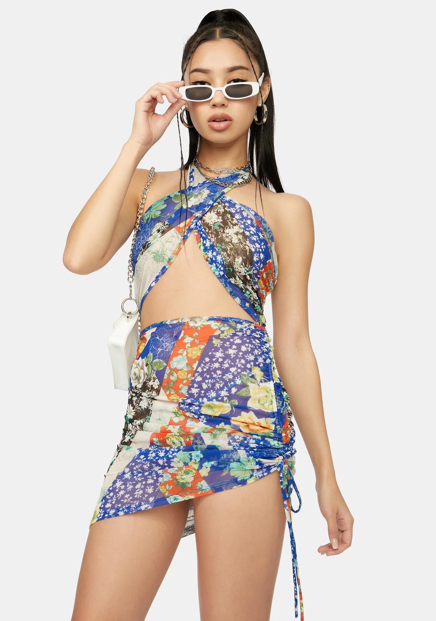 Chill Bandana Babe Ruched Mini Halter Dress