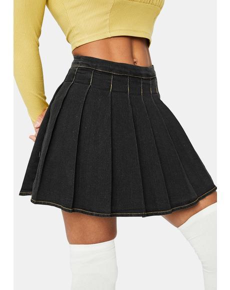 Midnight Daring Denim Pleated Skirt