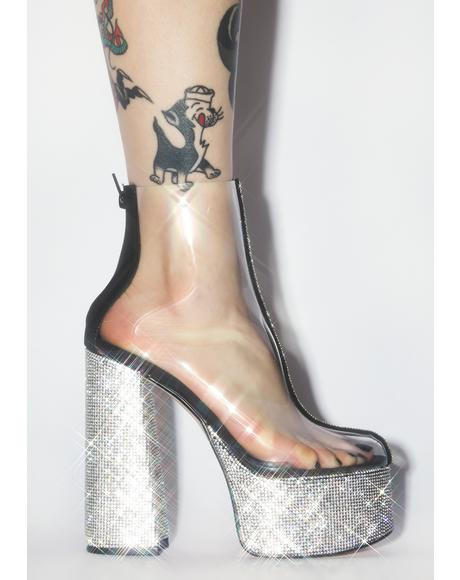 Black Brandie Rhinestone Heels