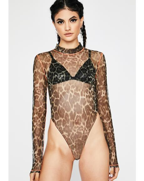 Juicy Litty Kitty Sheer Leopard Bodysuit