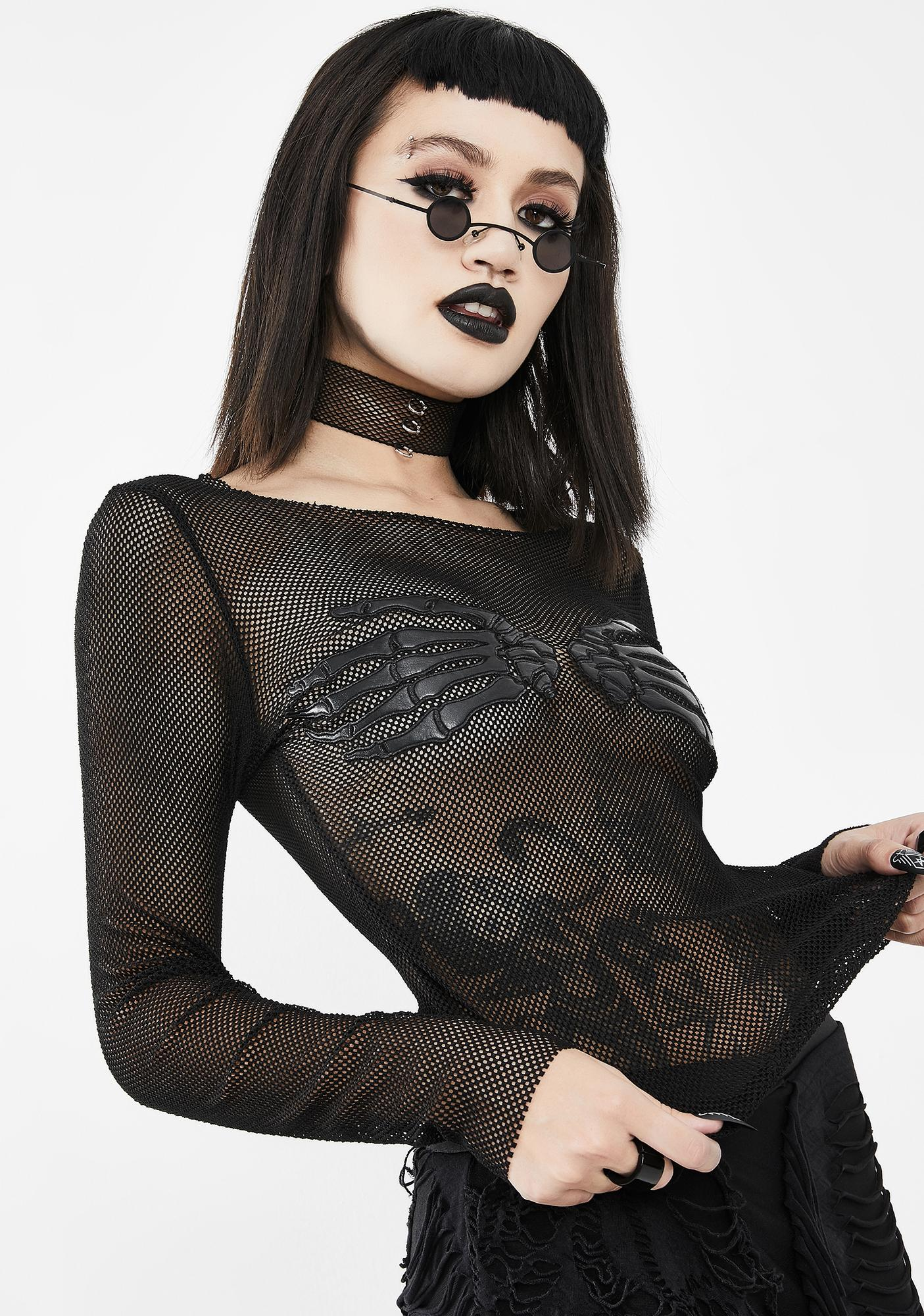 Devil Fashion Skeleton Hands Fishnet Long Sleeve Top