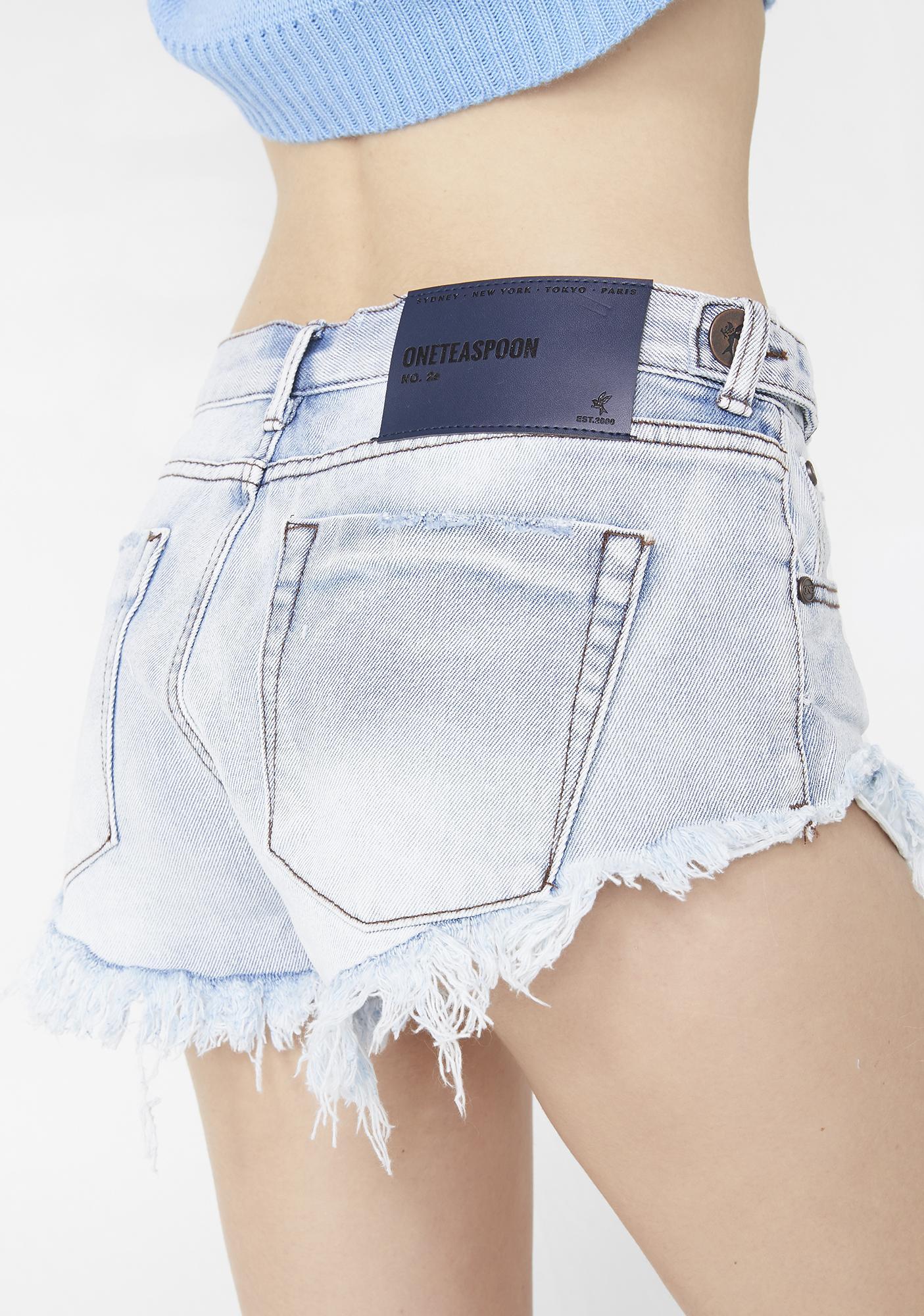 One Teaspoon Antique No. 25 Low Waist Mini Denim Shorts