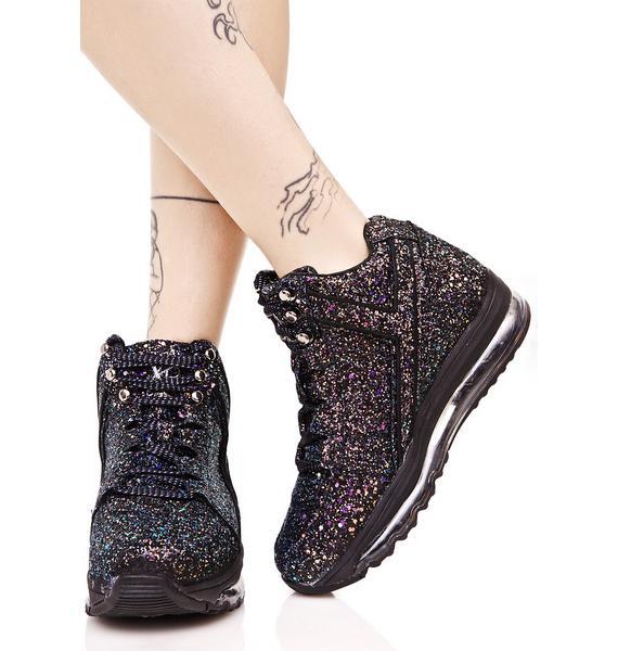 Y.R.U. Black Qozmo Aiire Glitter Sneaker