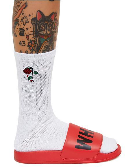 Delicate Rose Crew Socks