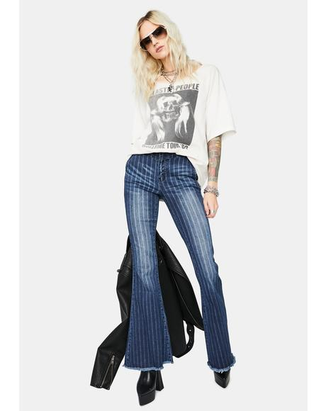 Sunset Breeze Striped Denim Flares