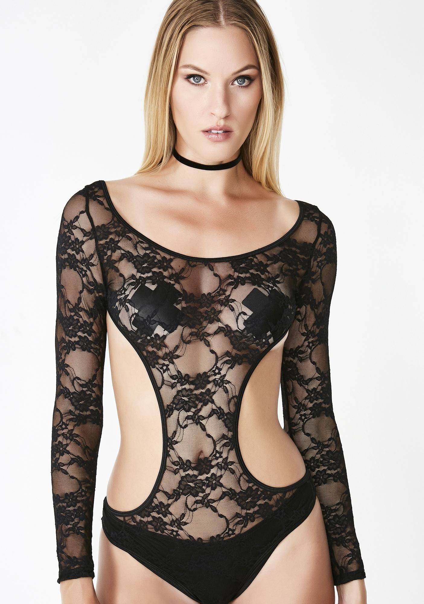 Cut Out Black Lace Bodysuit  277c29e5bfd