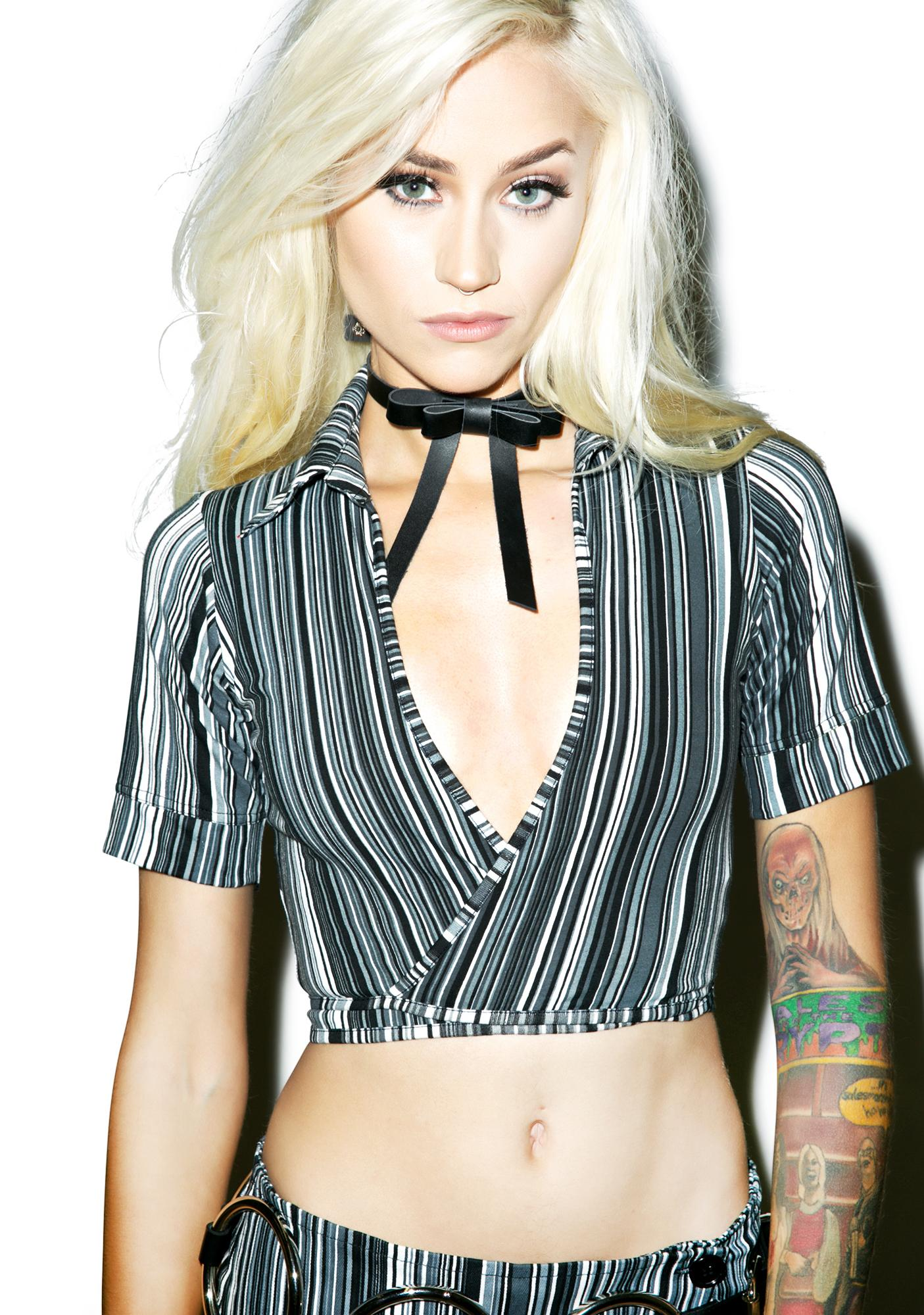 Motel Jerry Stripe Jocelyn Crop Top