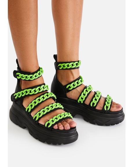 Green Strident Chain Gladiator Sandals