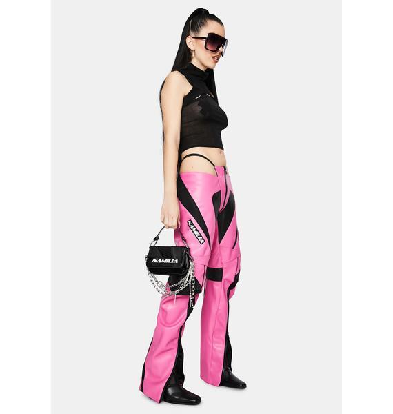 Namilia Motocross Pink Vegan Leather Panty Trousers