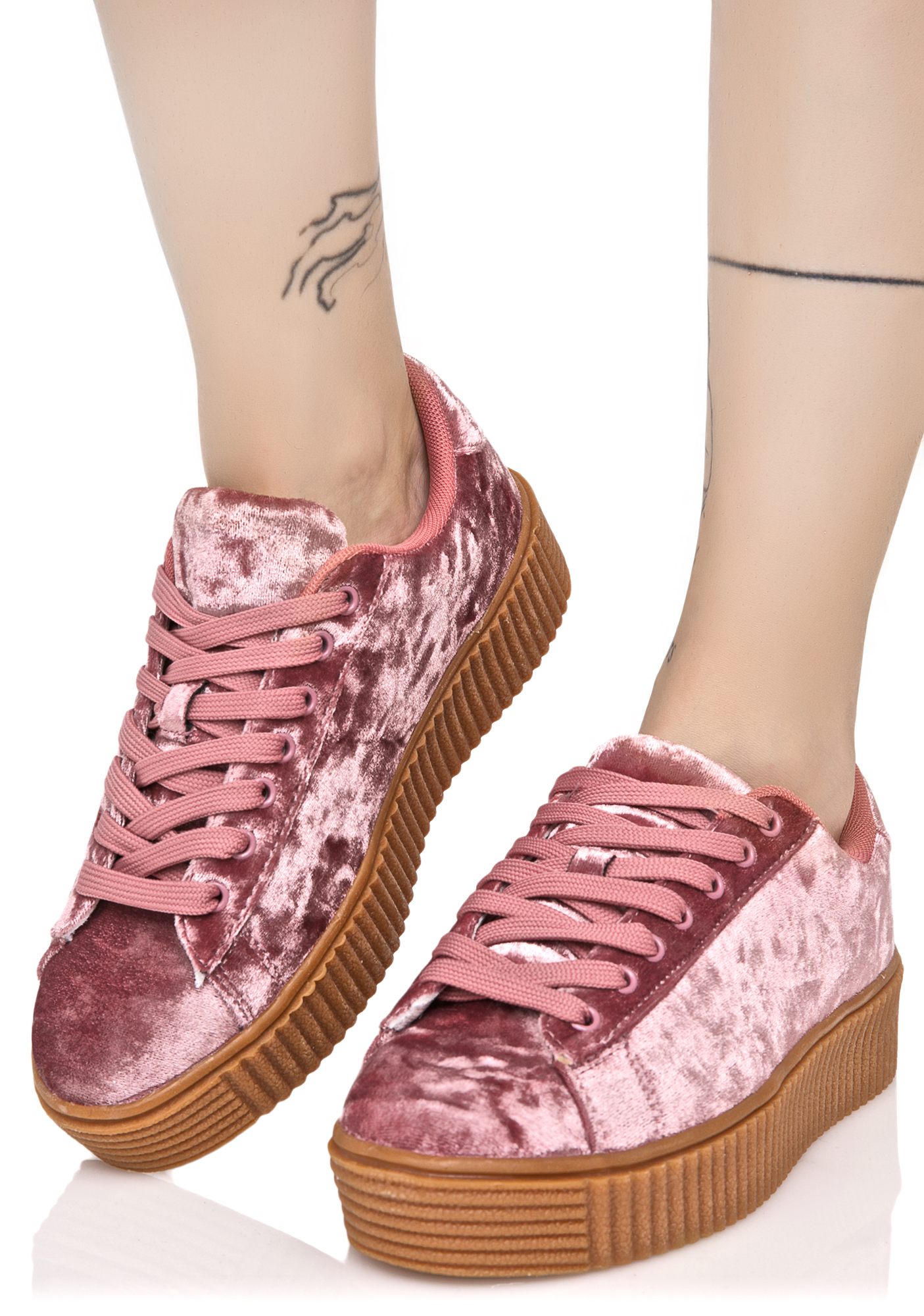 Pink Crushed Creeper Sneaker