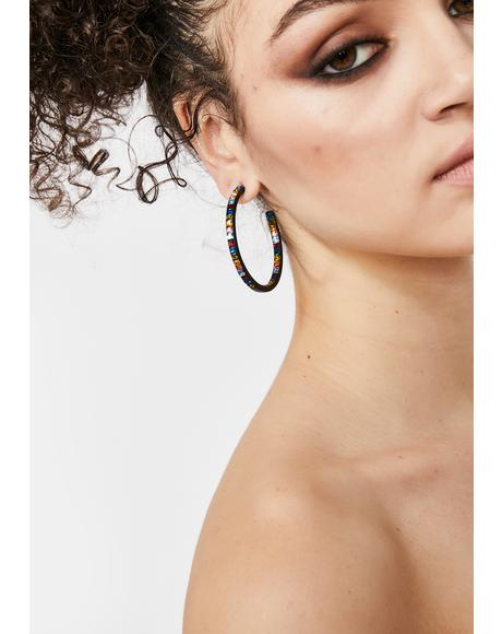 Dark Look My Way Rhinestone Hoops