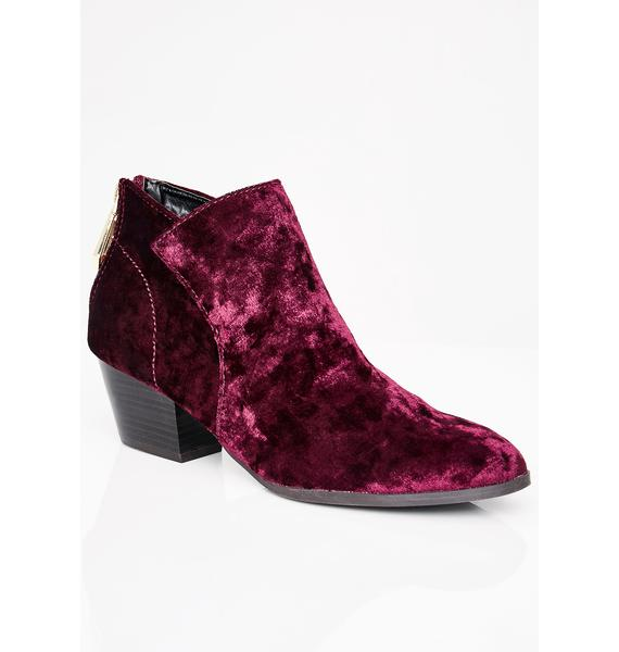 Conversation Piece Velvet Booties