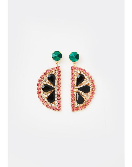 Ripe Flavor Watermelon Slice Earrings