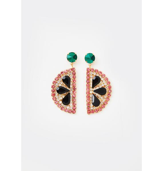 Ripe Flavor Watermelon Slice Earrings