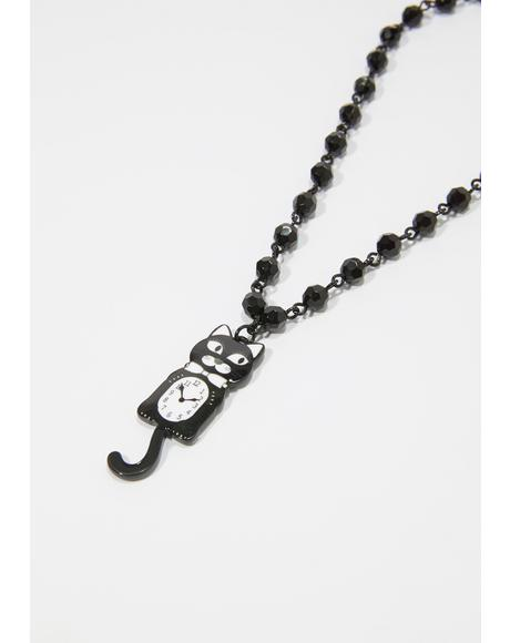 Noir Turning Back Time Cat Choker