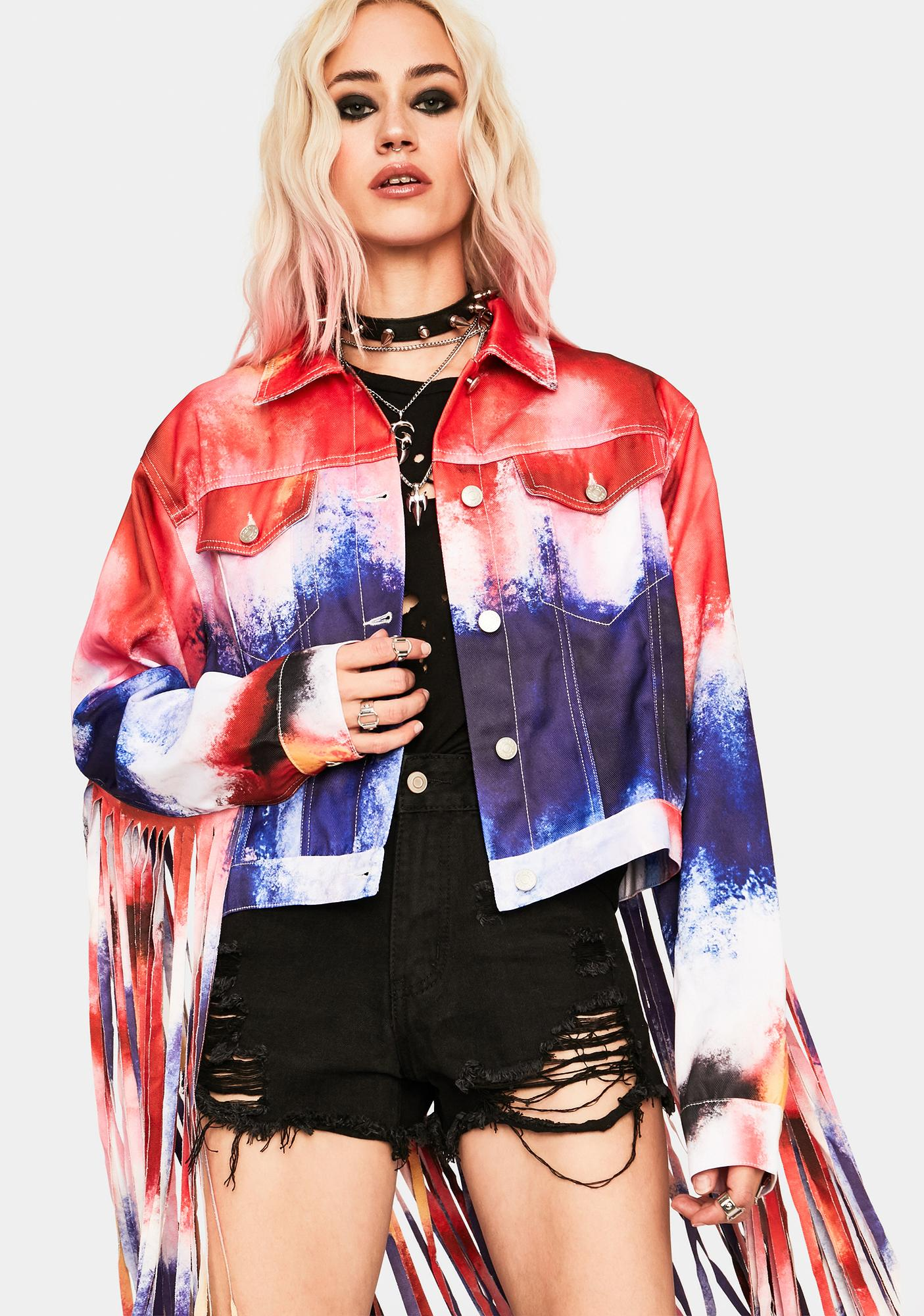 AZALEA WANG Shake It Up Fringe Denim Jacket
