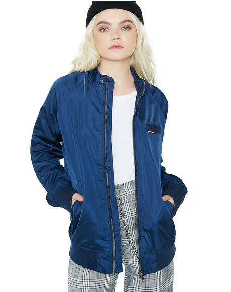 Royal Satin Boyfriend Bomber Jacket