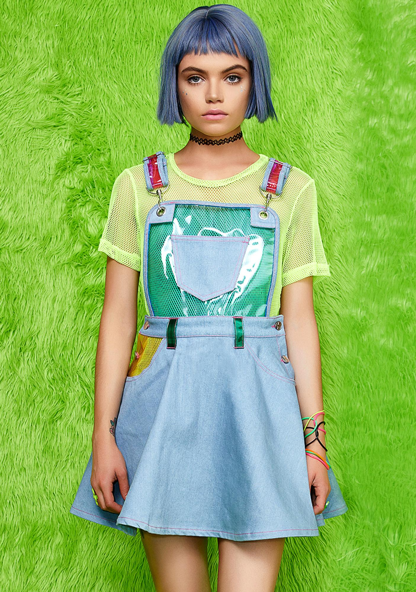 Current Mood Chasin\' Rainbows Overall Dress | Dolls Kill