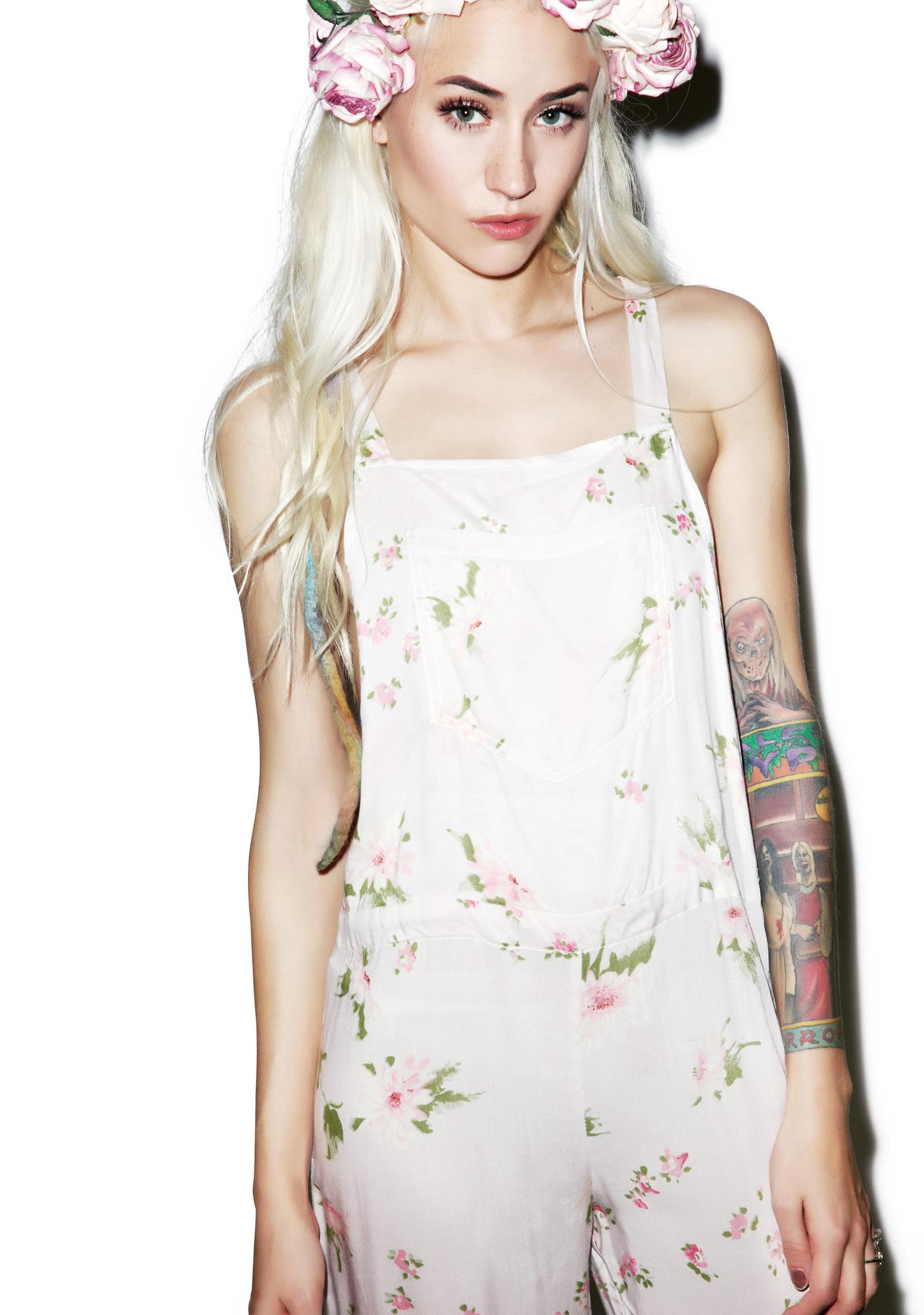 Wildfox Couture Pink Petals Long Overall Jumper