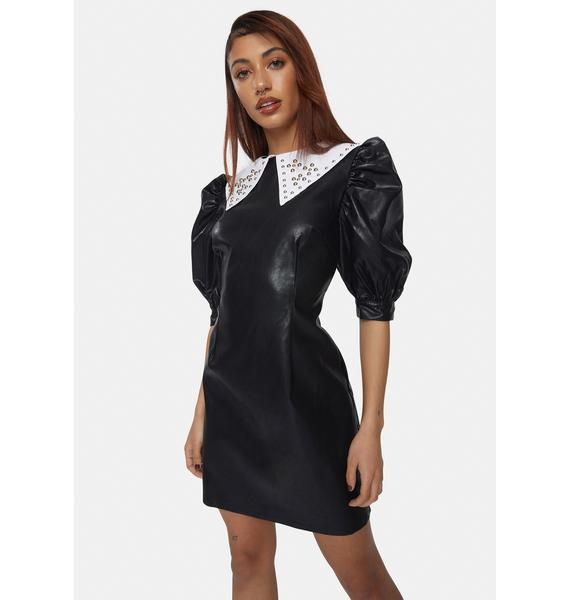 Glamorous Vegan Leather Studded Collar Mini Dress