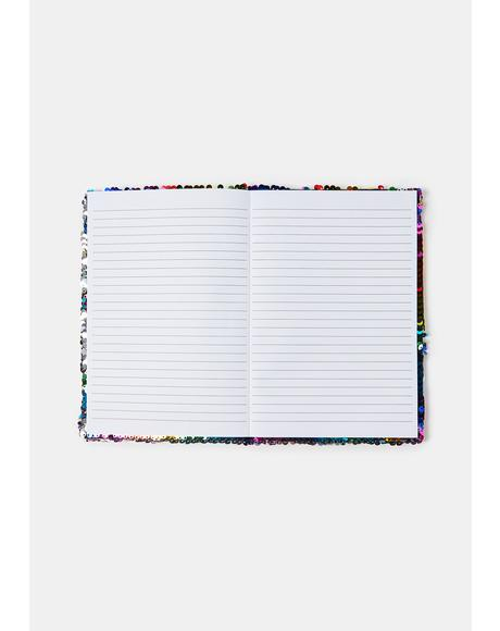 Get My Shine On Rainbow Sequin Journal