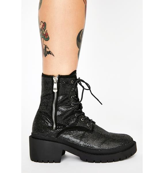 Dark Get The Likes Rhinestone Boots