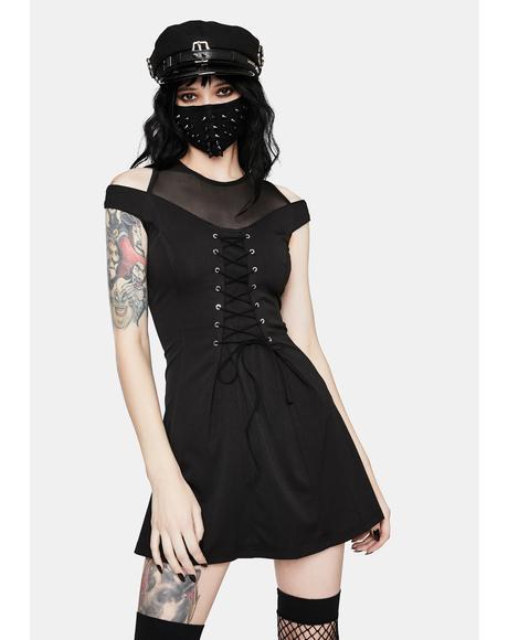 Punk Shoulder Cut Out Lace Up Dress
