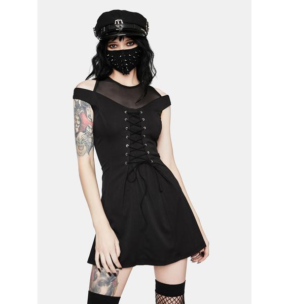 Punk Rave Punk Shoulder Cut Out Lace Up Dress