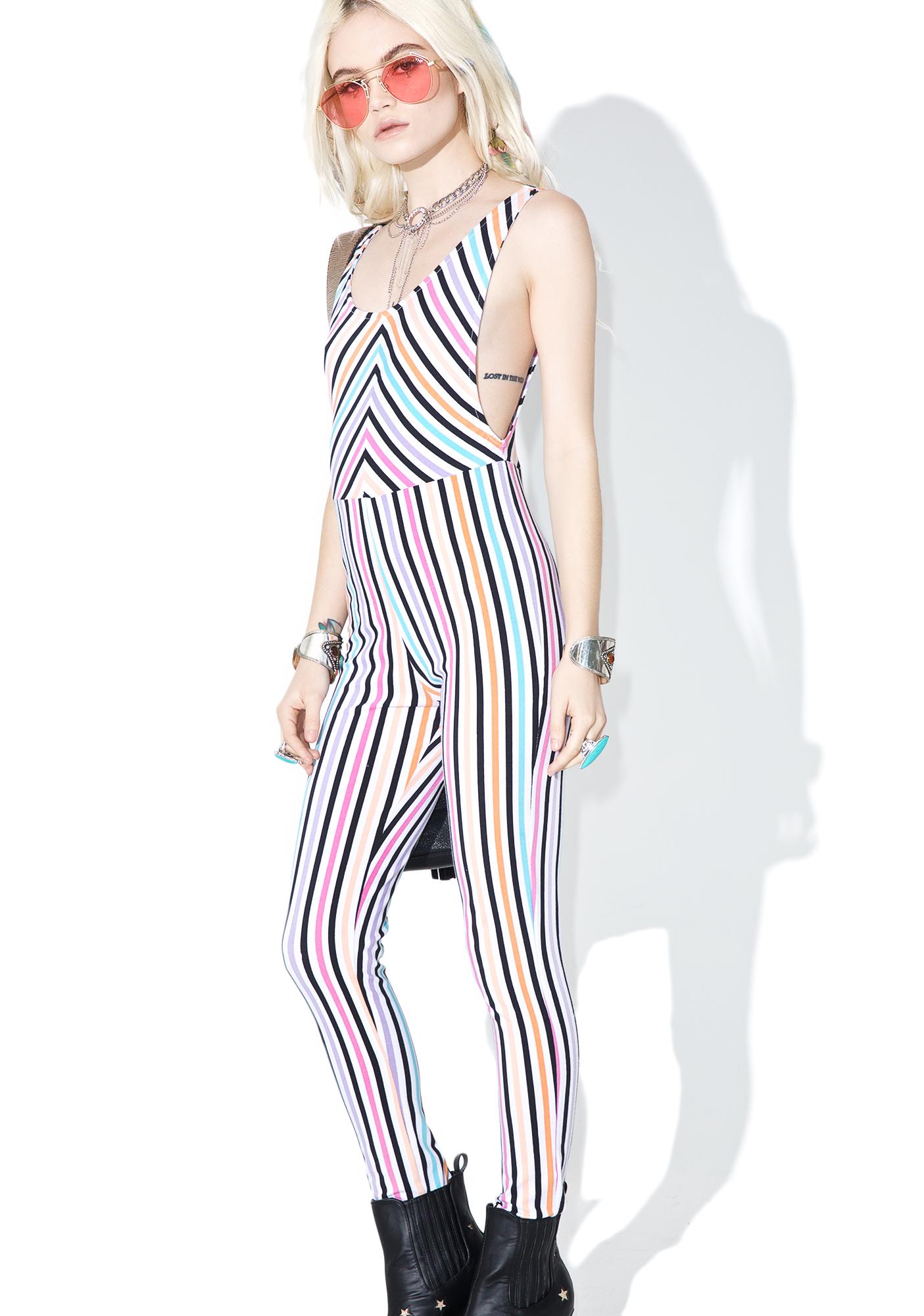 Motel Candy Stripe Summer Titanium Unitard