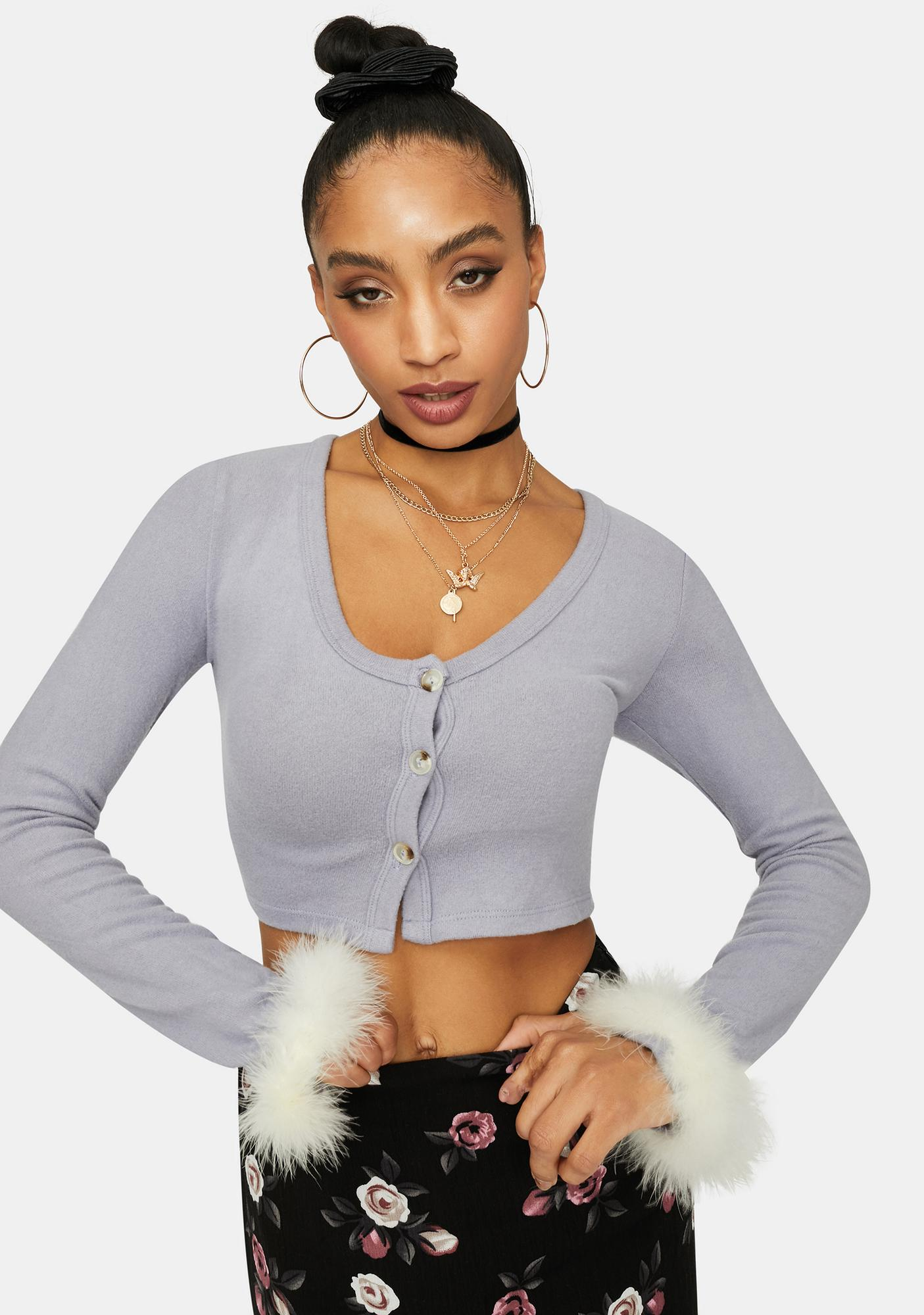 Lavender Love You Dearly Marabou Trim Crop Top