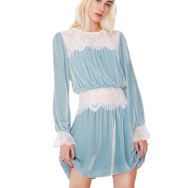 For Love & Lemons Beatrix Velvet Lace Mini Dress