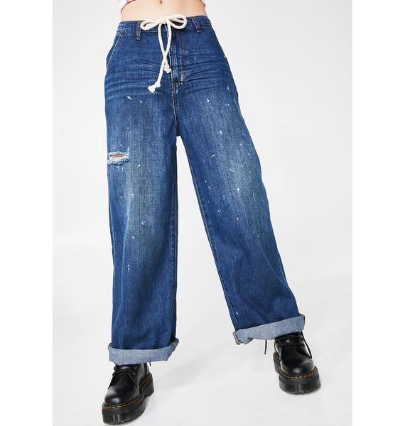 One Teaspoon Bad Boys High Waist Wide Leg Jeans