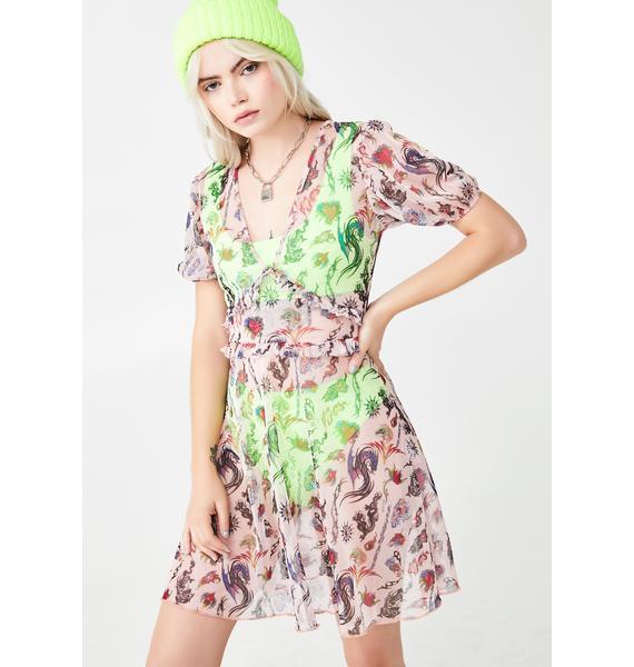 NEW GIRL ORDER Mesh Tattoo Print Dress