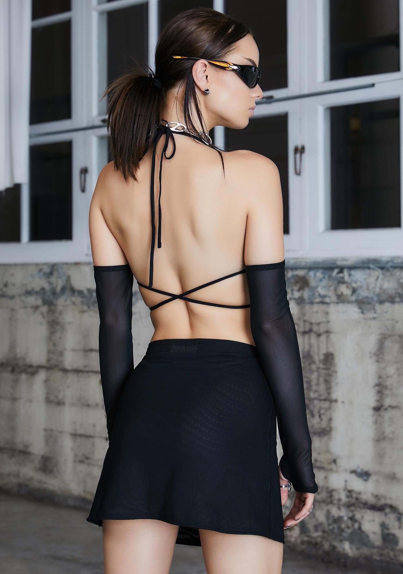DARKER WAVS Kickdrum Mesh Bra With Gloves And Skirt Set