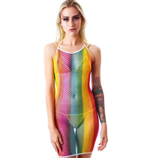 Rainbow Catcher Fishnet Halter Mini Dress