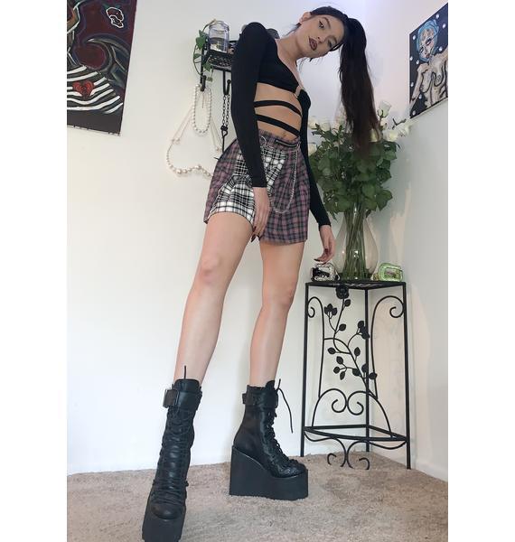 LOVE TOO TRUE Kitty Clash Tartan Skirt