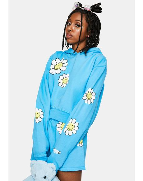 Aqua One of Those Daze Crop Hoodie