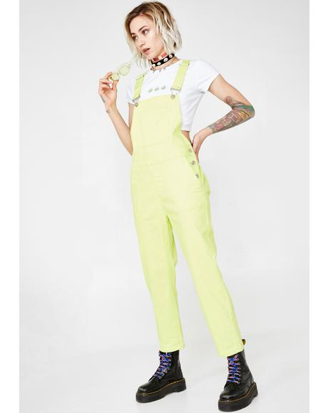Lime Fusion Fix Denim Overalls
