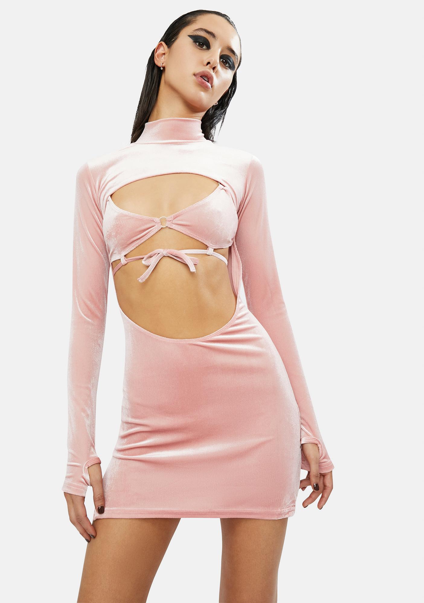 Club Exx Rave Bunny Velvet Cut-Out Dress