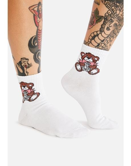 Cutie Bear Logo Ankle Socks