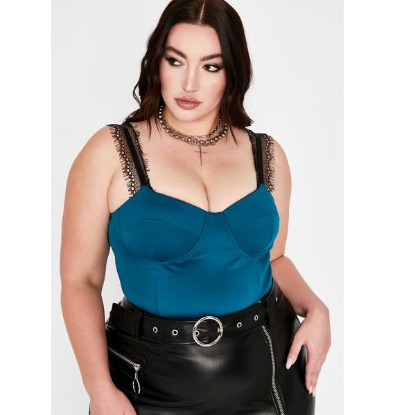 Teal Pause Baddie Moment Bustier Top