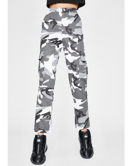 Camo Print Utility Cargo Trousers