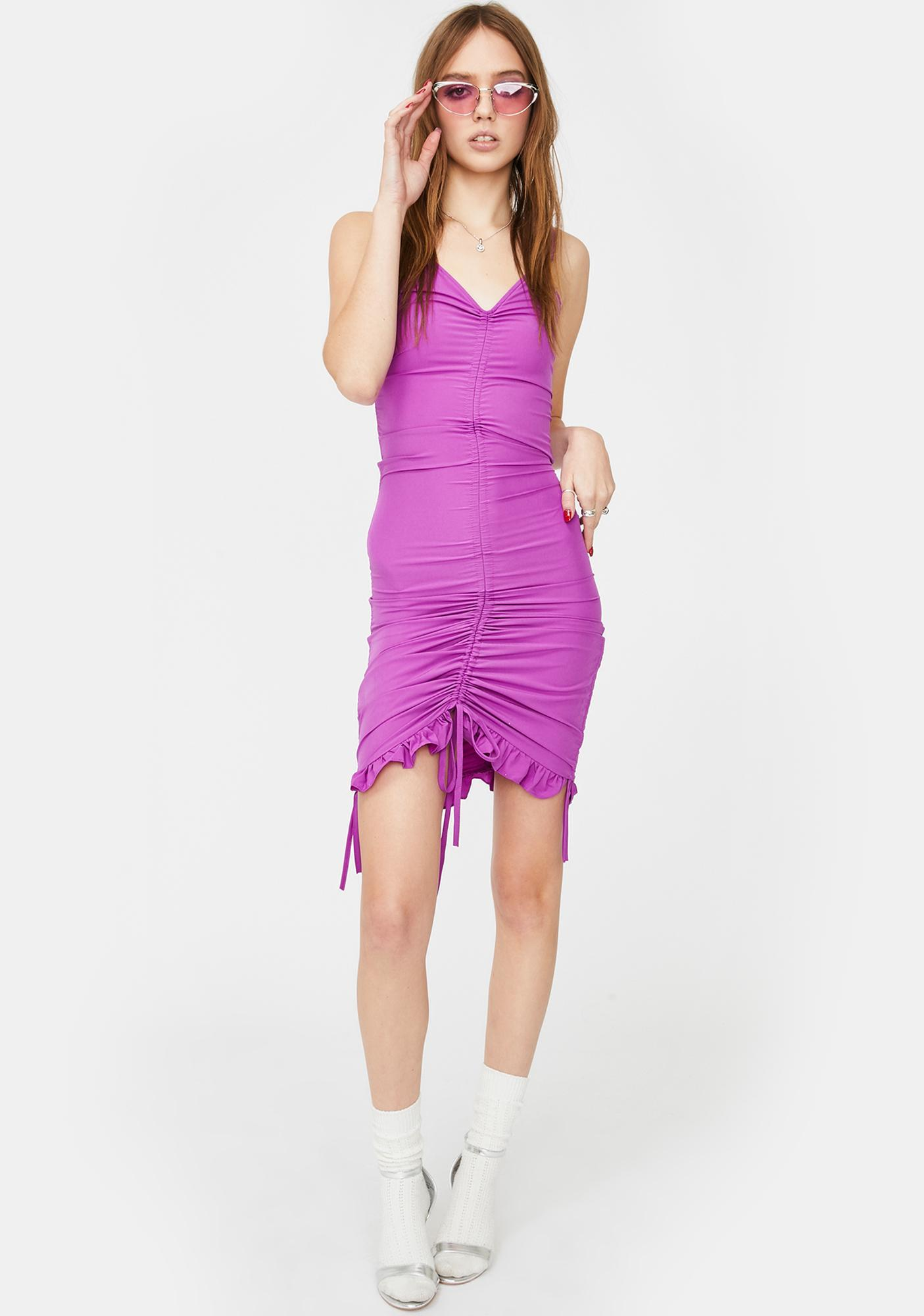 ZEMETA Purple Span Ruched Mini Dress
