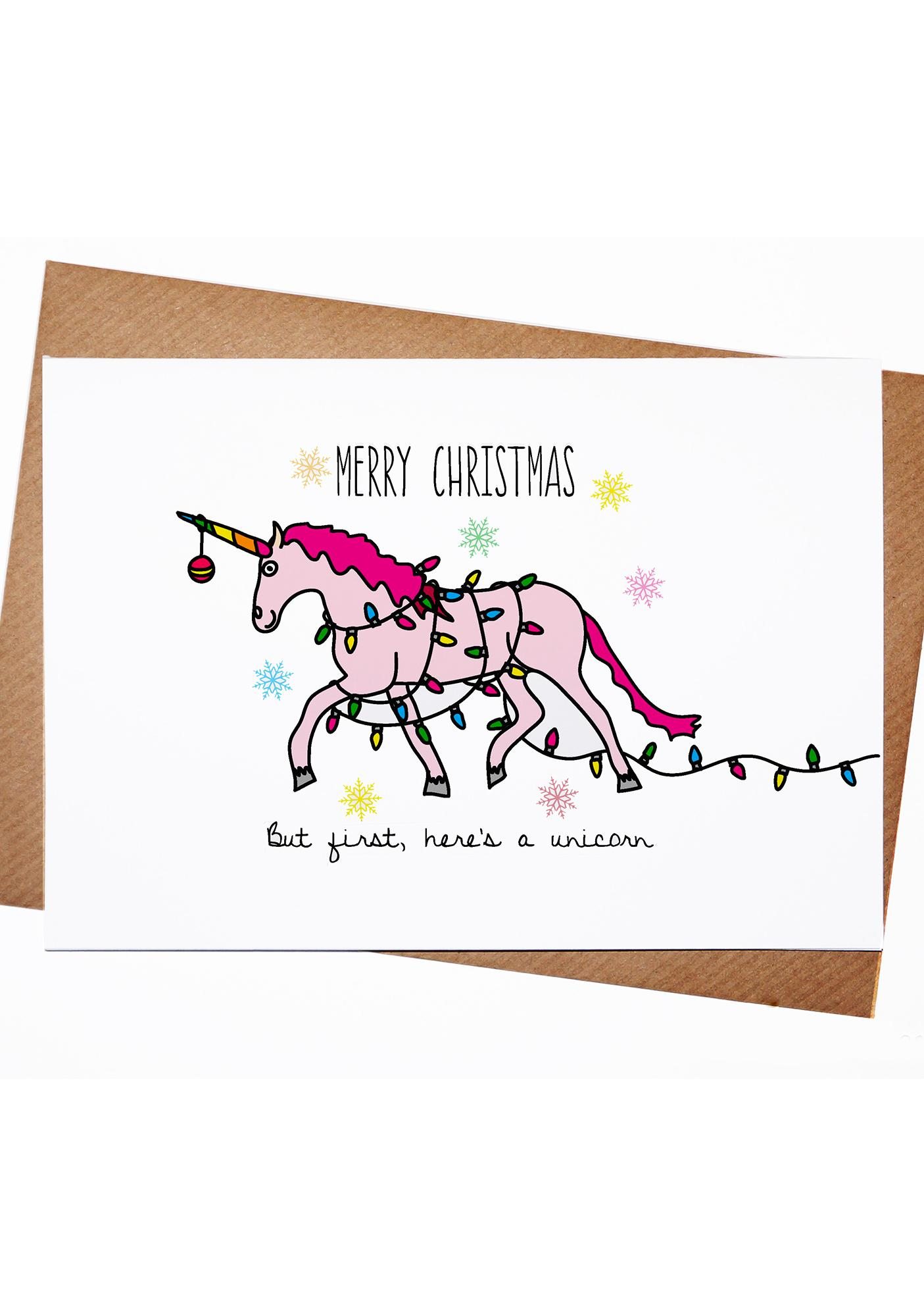 Lost Marbles Co Christmas Unicorn Card