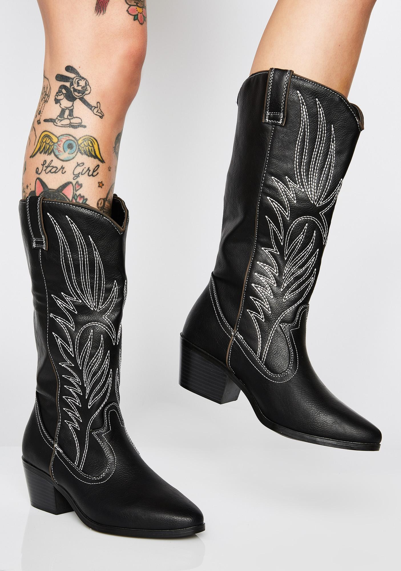 489fba0ef382c Vegan Leather Embroidered Boots | Dolls Kill