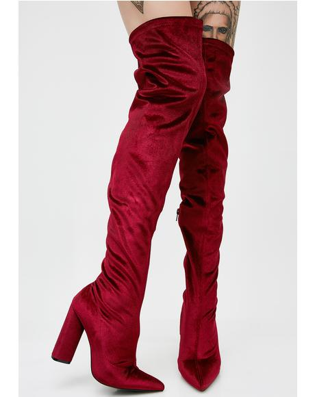 Wine Burnin' Romance Over The Knee Boots
