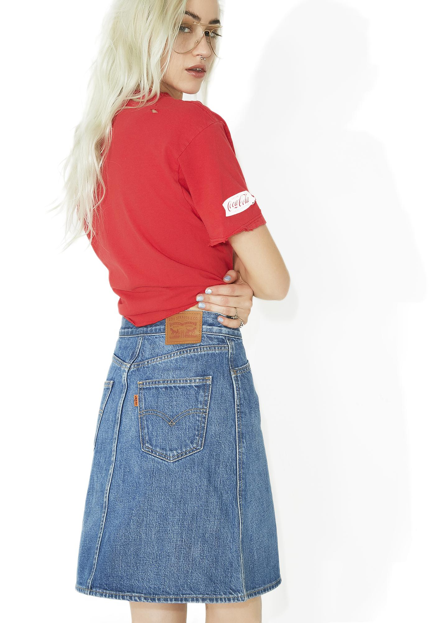 Levis Orange Tab Zip Front Skirt