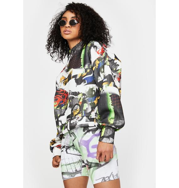 NEW GIRL ORDER Multi Graffiti Print Crewneck