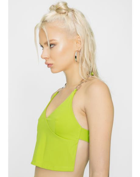 Green Sares Halter Top
